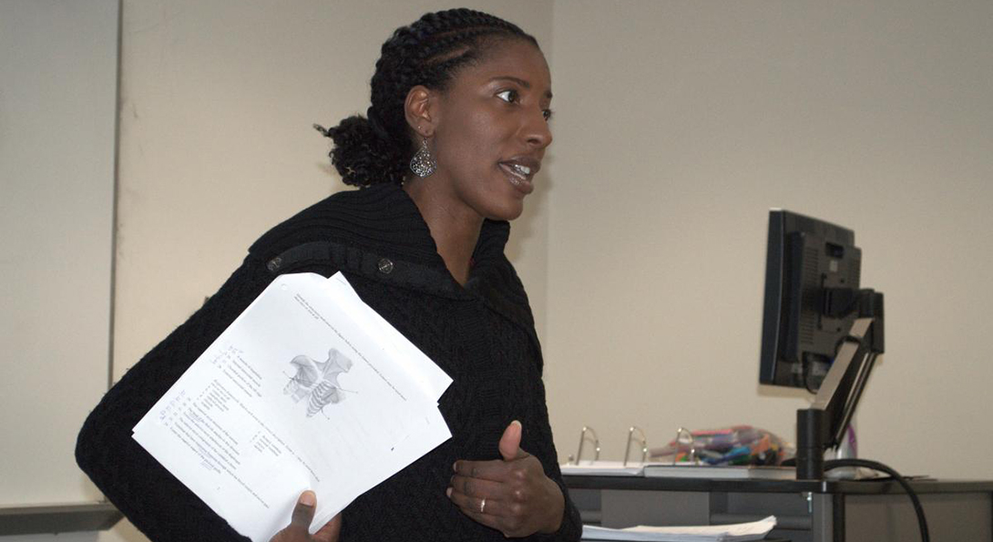 Nicole Koonce leads a discussion in a class at Governors State University.