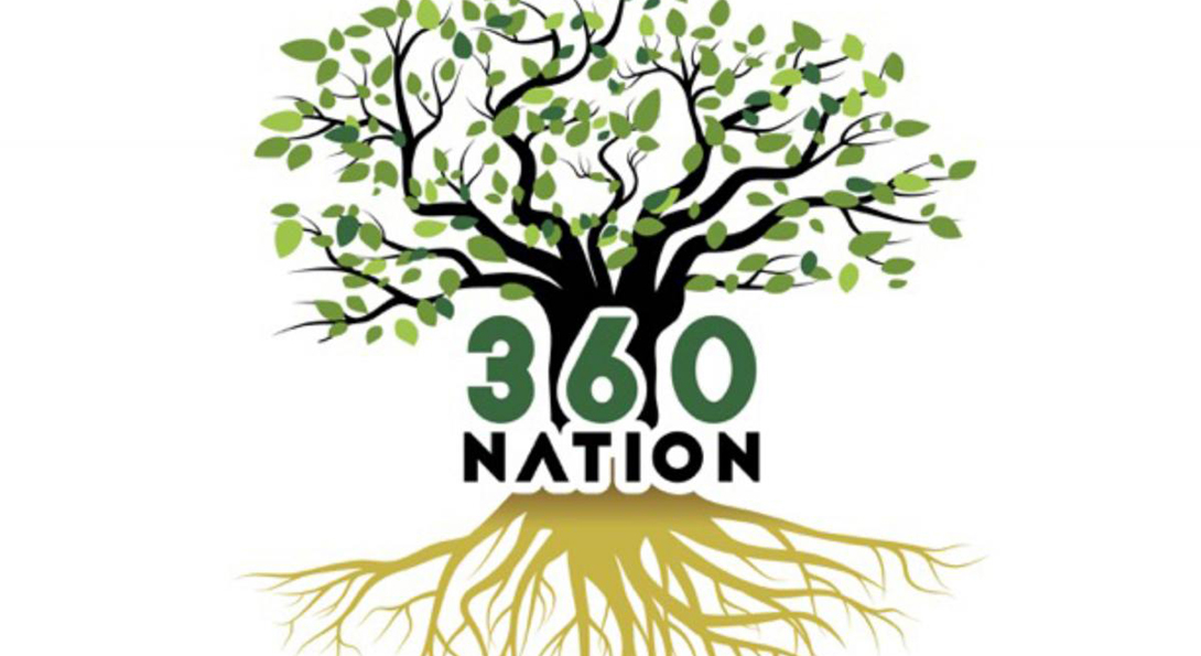 The logo for 360 nation, showing a tree with leaves and its root system, with the phrase