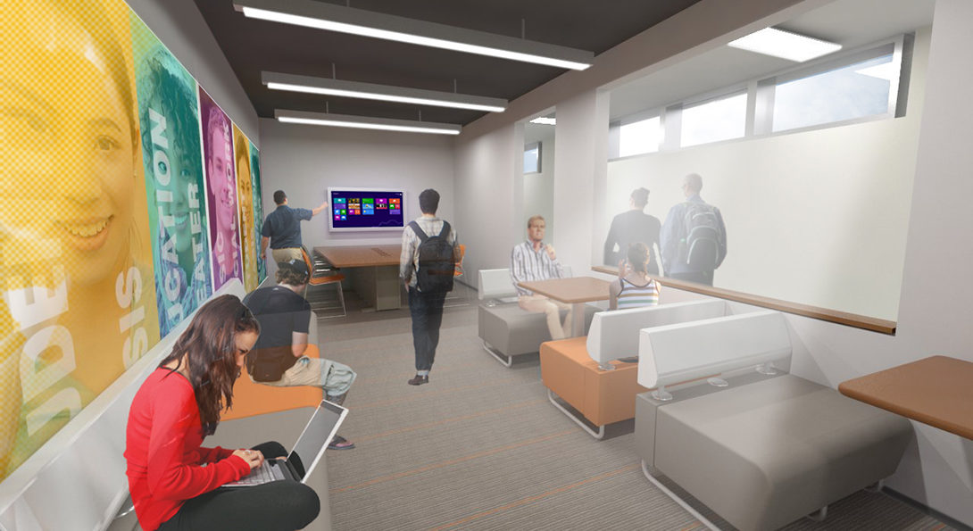 An artist's rendering of the recently-built student oasis on the 2nd floor of the College building, showing students sitting on chairs working on laptops, other students standing and talking and more students congregating around a flatscreen TV, working on a group project with their group work displayed on the TV screen.