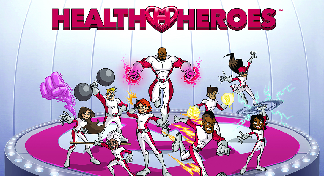 Animated characters in the Health Heroes comic series engage in a series of poses showing health and strength, including lifting weights, running and eating healthy.