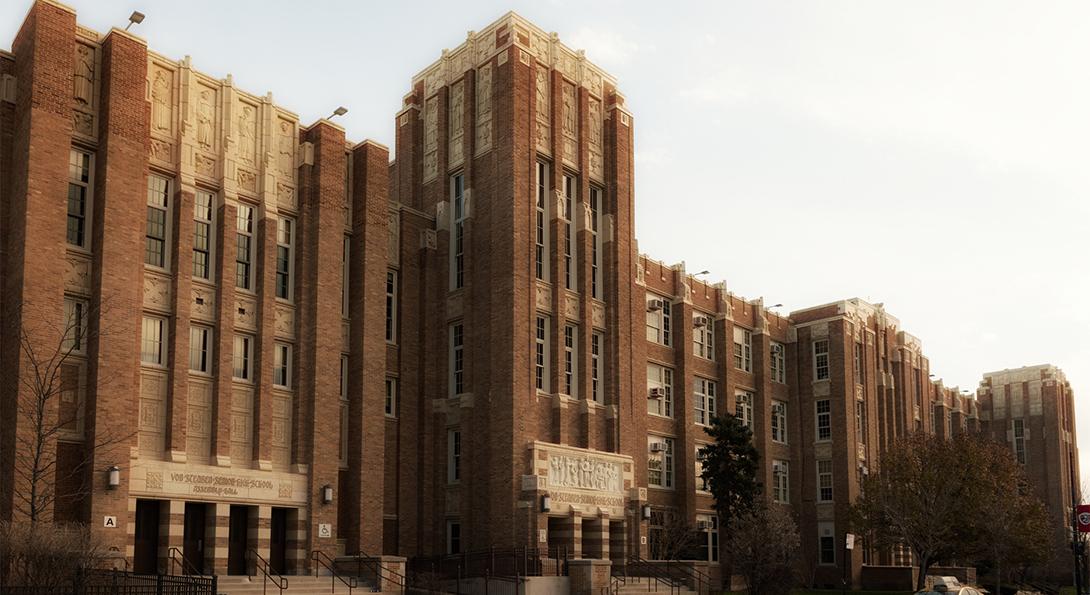 The exterior of Von Steuben Metropolitan High School, seen from Kimball Avenue.
