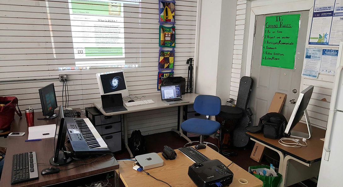 The digital media room paid for by the grant project, including a digital keyboard and three new computers.