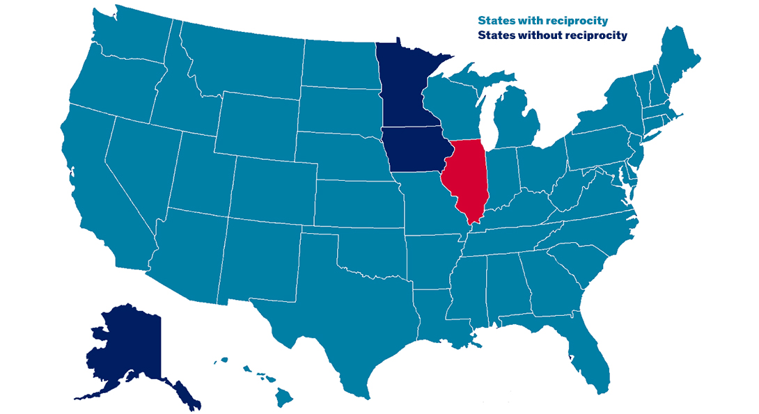 A map of the United States that shows which states have a license reciprocity agreement with Illinois.  Illinois is shown in red. Alaska, Iowa and Minnesota are shown in dark blue, representing that they do not have a reciprocity agreement with Illinois.  All other states are colored with teal, representing that they do have a reciprocity agreement with Illinois.