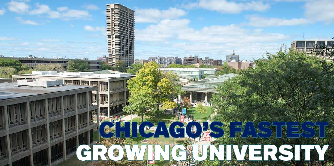 An aerial view of UIC's campus, with the text