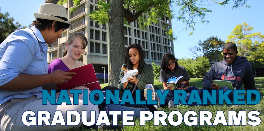 Students sit under a tree working on homework outside University Hall.  The image has the following text on it: