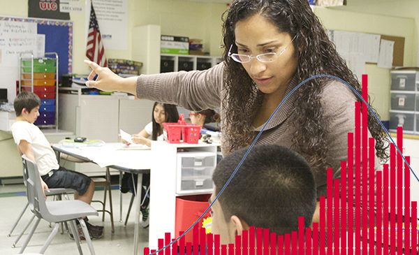 Teacher Brenda Fonseca gestures toward a whiteboard in a conversation with a student.  Overlaid over the image is a bar graph, representing the data aspects of educational psychology.